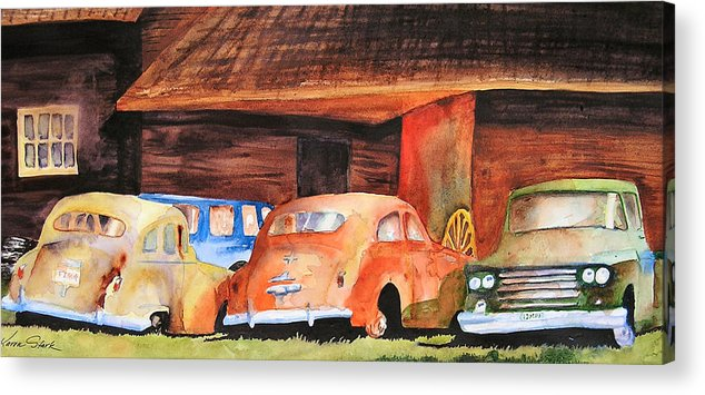 Car Acrylic Print featuring the painting Rusting by Karen Stark