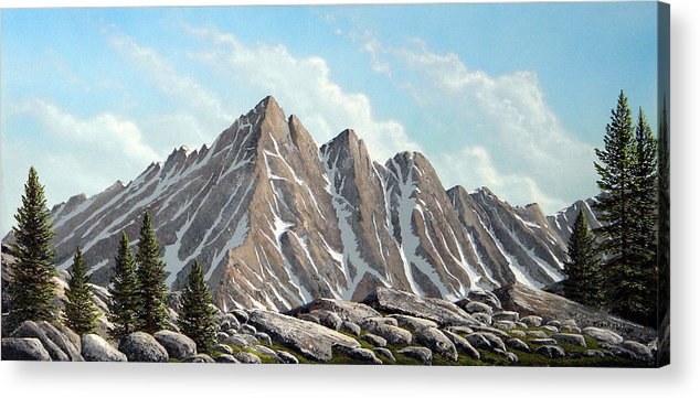 Landscape Acrylic Print featuring the painting Lofty Peaks by Frank Wilson