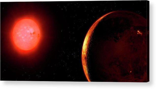 Red Dwarf Acrylic Print featuring the photograph Artwork Of Red Dwarf And Orbiting Planet by Mark Garlick