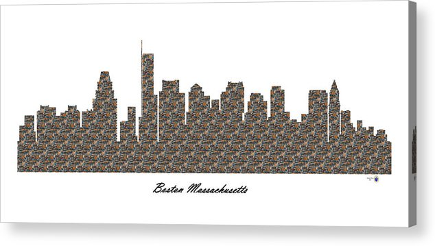 Fine Art Acrylic Print featuring the digital art Boston Massachusetts 3d Stone Wall Skyline by Gregory Murray
