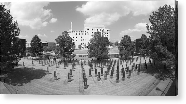 National Acrylic Print featuring the photograph Oklahoma City National Memorial Black And White by Ricky Barnard