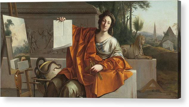 Laurent De La Hyre (french Acrylic Print featuring the painting Allegory Of Geometry by MotionAge Designs