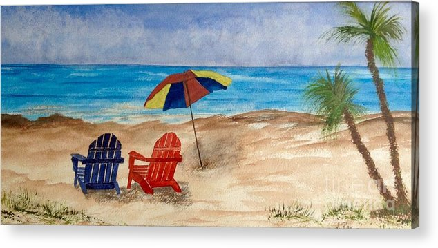 Adirondack Chairs Acrylic Print featuring the painting A Perfect Setting by Laura R OKelly