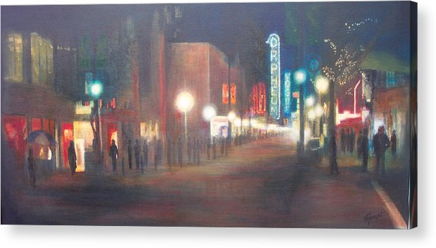 Downtown Acrylic Print featuring the painting Glow by Victoria Heryet
