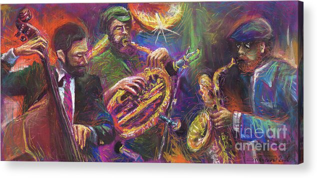 Jazz Acrylic Print featuring the painting Jazz Jazzband Trio by Yuriy Shevchuk