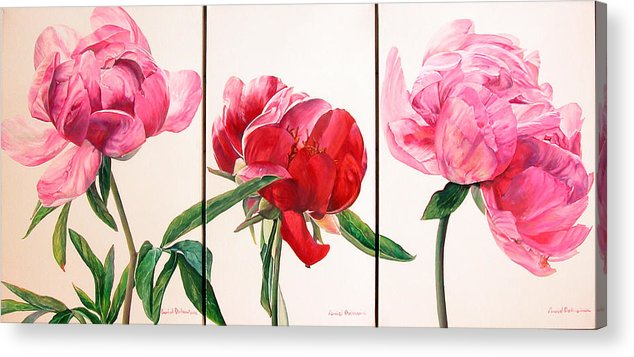 Floral Painting Acrylic Print featuring the painting Pivoines by Muriel Dolemieux