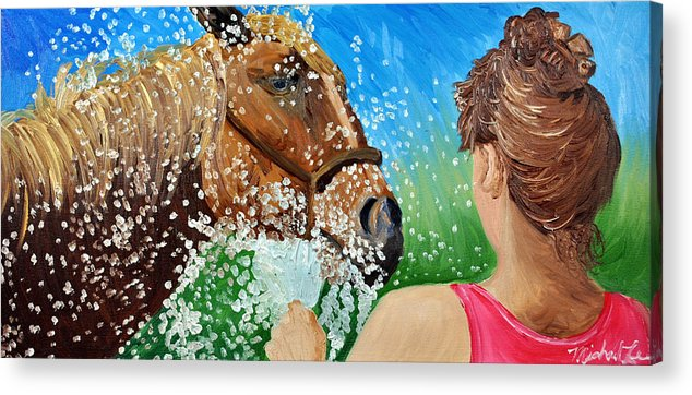 Horse Acrylic Print featuring the painting Sara Washes Her Horse by Michael Lee
