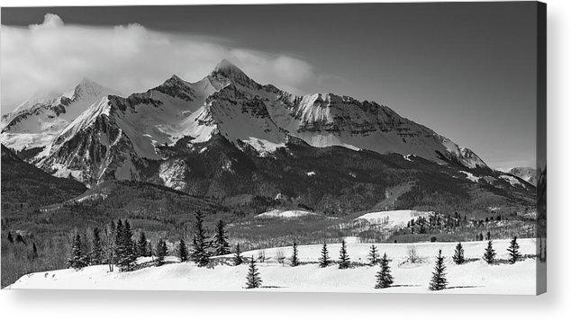 14er Acrylic Print featuring the photograph Wilson Peak Winter Panorama by Bridget Calip