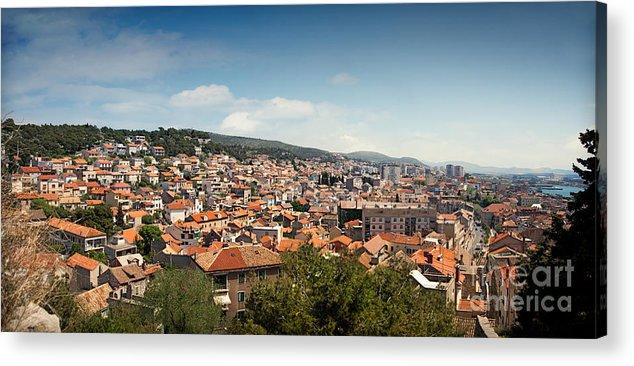 Adriatic Sea Acrylic Print featuring the photograph Cityscape Of Sibenik Croatia by Mythja Photography