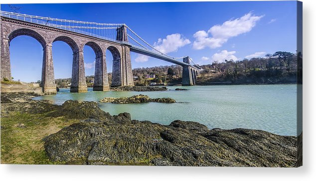 Menai Acrylic Print featuring the photograph Menai Suspension Bridge by Darren Wilkes