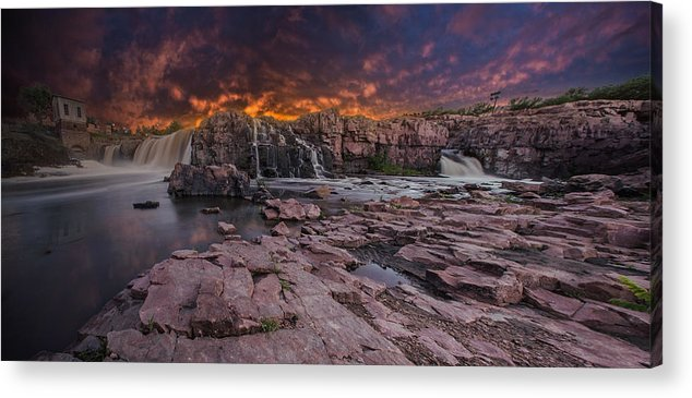 Sunset Acrylic Print featuring the photograph Sioux Falls by Aaron J Groen