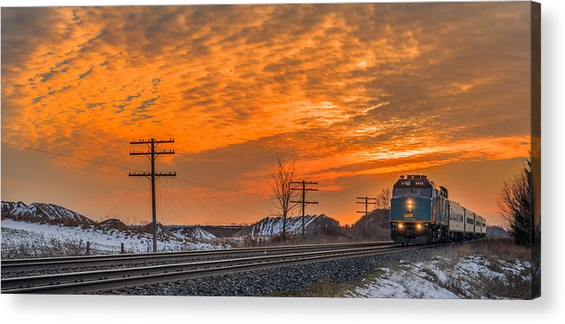 Train Acrylic Print featuring the photograph The Night Train by Garvin Hunter