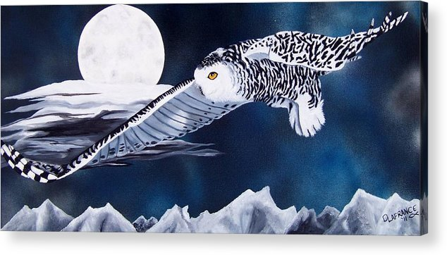 Owl Acrylic Print featuring the painting Snowy Flight by Debbie LaFrance