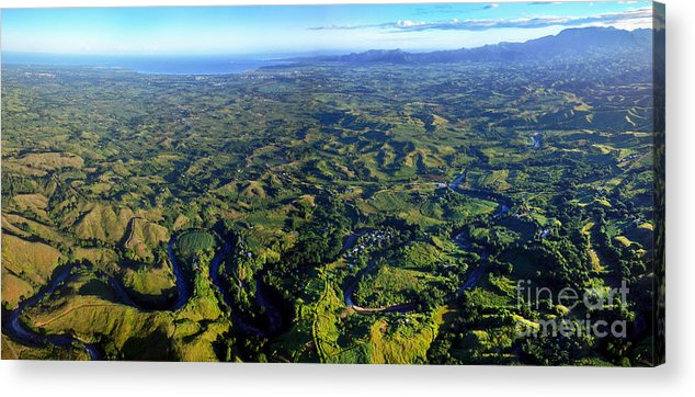 Elevation Acrylic Print featuring the photograph Aerial View Of The Nadi River Winding by Michael Wood