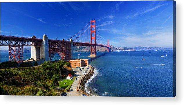 Golden Gate Acrylic Print featuring the photograph Golden Gate Bridge 1. by Laszlo Rekasi