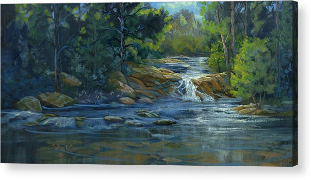 Stream Acrylic Print featuring the painting Moonrise On The River by Heather Coen