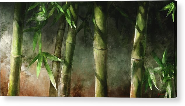 Bamboo Art Acrylic Print featuring the mixed media Bamboo Stalks by Steve Goad