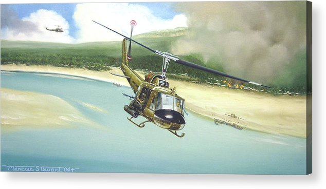 Military Acrylic Print featuring the painting Hunter Hueys by Marc Stewart