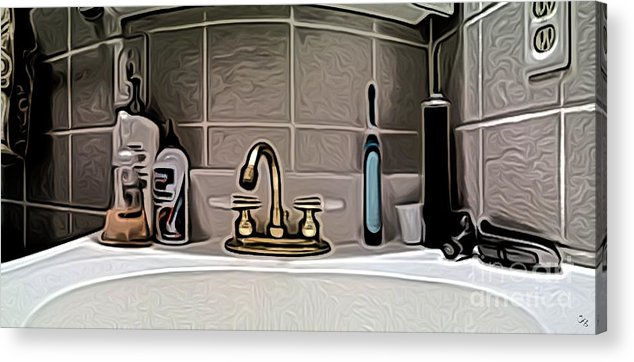 Lavatory Acrylic Print featuring the digital art Lav Pano by Ron Bissett