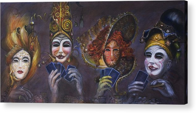 Masks Acrylic Print featuring the painting Poker Face by Nik Helbig