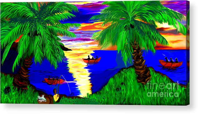 Digital Paintings Acrylic Print featuring the digital art Rowing On The Sunset by Brenda L Spencer
