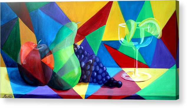 Fruit Acrylic Print featuring the painting Sliced Fruit by Maryn Crawford