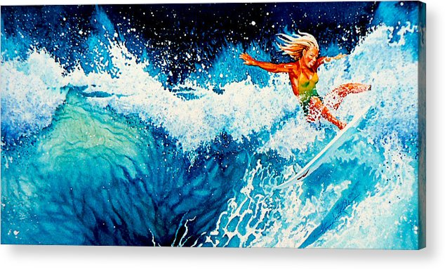 Sports Art Acrylic Print featuring the painting Surfer Girl by Hanne Lore Koehler