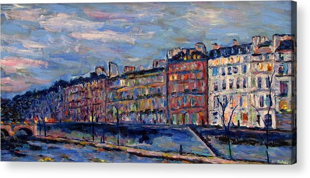 Seine Acrylic Print featuring the painting The Seine In Paris by Rob White