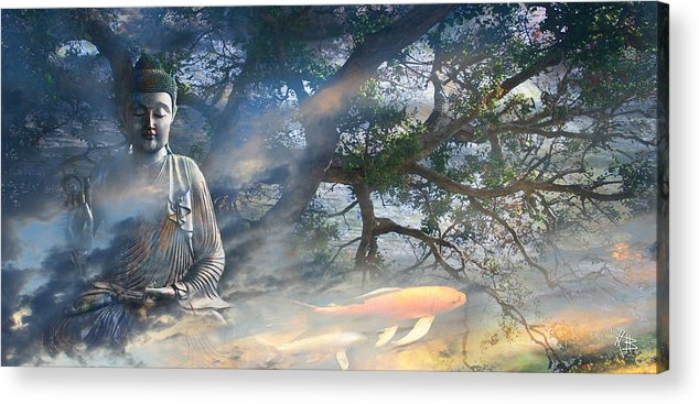 Buddha Acrylic Print featuring the mixed media Universal Flow by Christopher Beikmann