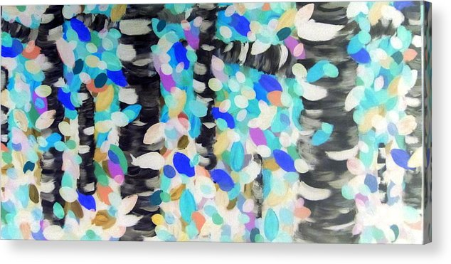 Barefoot Acrylic Print featuring the painting New England Abstract Painting Original By Zee Clark by Zee Clark
