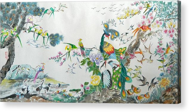 Chinese Brush Acrylic Print featuring the painting 100 Birds by Min Wang