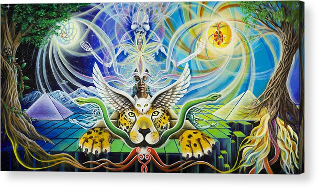Jaguar Acrylic Print featuring the painting A Shaman's Journey Through The Heart Of The Sun by Morgan Mandala Manley