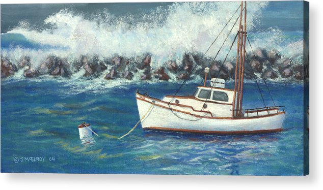 Ocean Acrylic Print featuring the painting Behind The Breakwall by Jerry McElroy