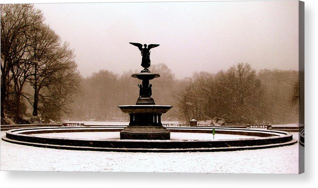 New York Acrylic Print featuring the photograph Bethesda Fountain Snow by Jeff Watts