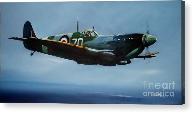 Spitfire Acrylic Print featuring the painting Blue Spirit by Terence R Rogers