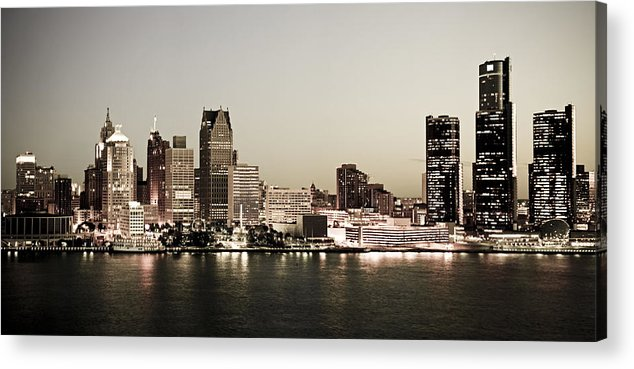 Detroit Acrylic Print featuring the photograph Detroit Skyline At Night by Levin Rodriguez