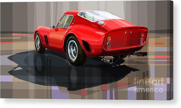 Automotive.digital Acrylic Print featuring the digital art Ferrari 250 Gto by Yuriy Shevchuk
