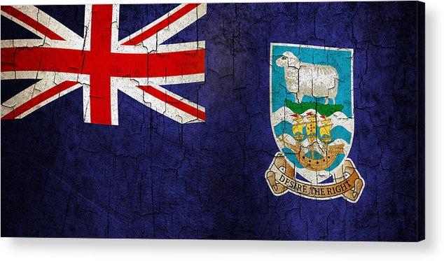 Aged Acrylic Print featuring the digital art Grunge Falkland Islands Flag by Steve Ball