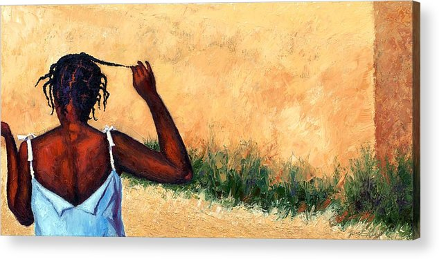 Haiti Painting Acrylic Print featuring the painting Lucie In Haiti by Janet King