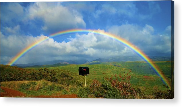 Amazing Acrylic Print featuring the photograph Rainbow Over A Mailbox by Kicka Witte