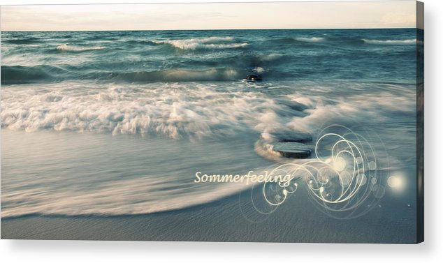 Ostsee Acrylic Print featuring the pyrography Summer Beach by Steffen Gierok