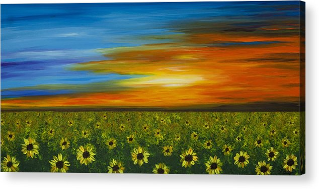 Sunflower Acrylic Print featuring the painting Sunflower Sunset - Flower Art By Sharon Cummings by Sharon Cummings
