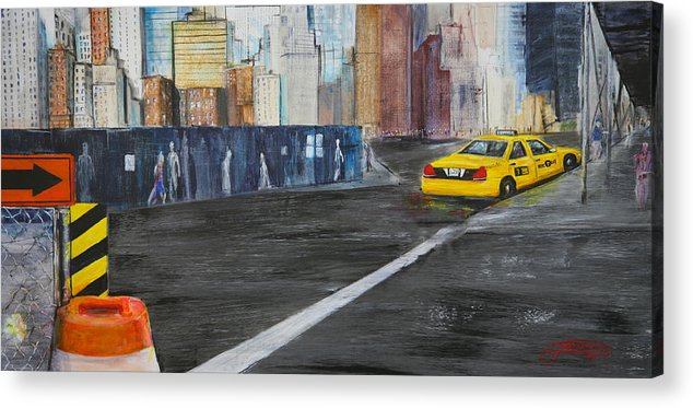 Taxi Acrylic Print featuring the painting Taxi 9 Nyc Under Construction by Jack Diamond
