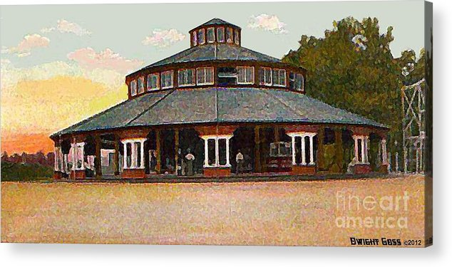 Merry-go-rounds Acrylic Print featuring the painting The Merry-go-round In Willow Grove Park Pa Around 1910 by Dwight Goss