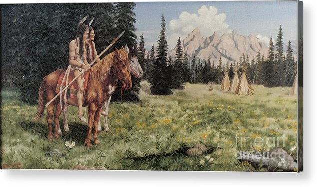 Landscape Acrylic Print featuring the painting The Tetons Early Tribes by Wanda Dansereau