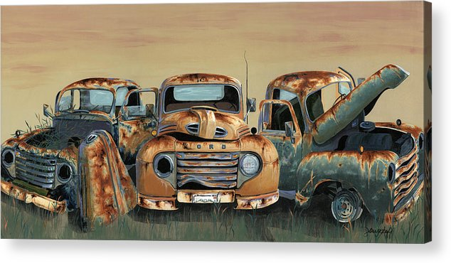 Truck Acrylic Print featuring the painting Three Amigos by John Wyckoff