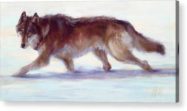 Wolf Acrylic Print featuring the painting Wary Passage by Cheryl King
