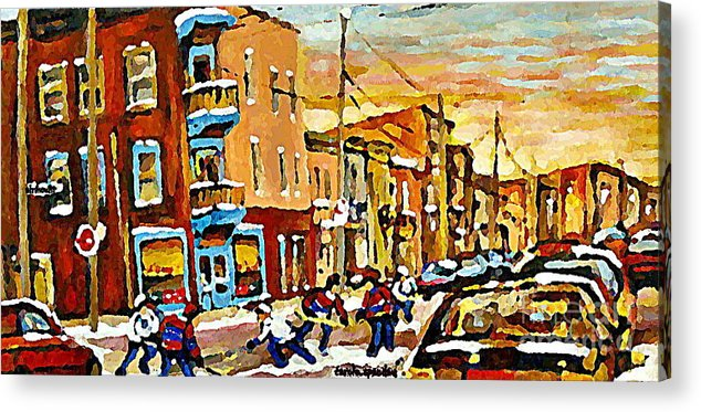Wilenskys Deli Acrylic Print featuring the painting Wilenskys Hockey Paintings Montreal Commissions Originals Prints Contact Artist Carole Spandau by Carole Spandau