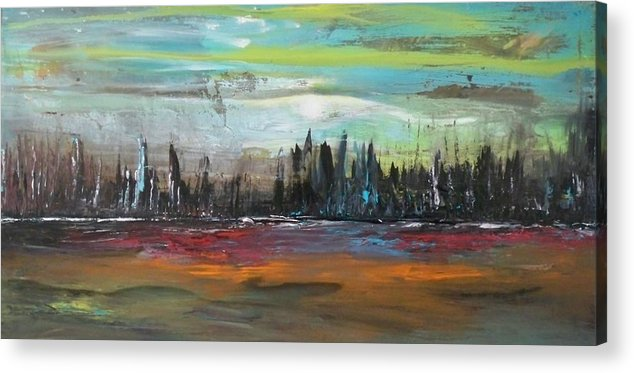 Landscape Acrylic Print featuring the painting Wild Blue Yonder by Maximo Pizarro