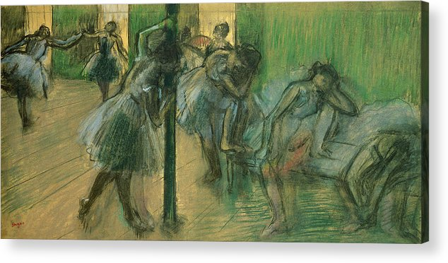 Dancers Rehearsing Acrylic Print featuring the painting Dancers Rehearsing by Edgar Degas